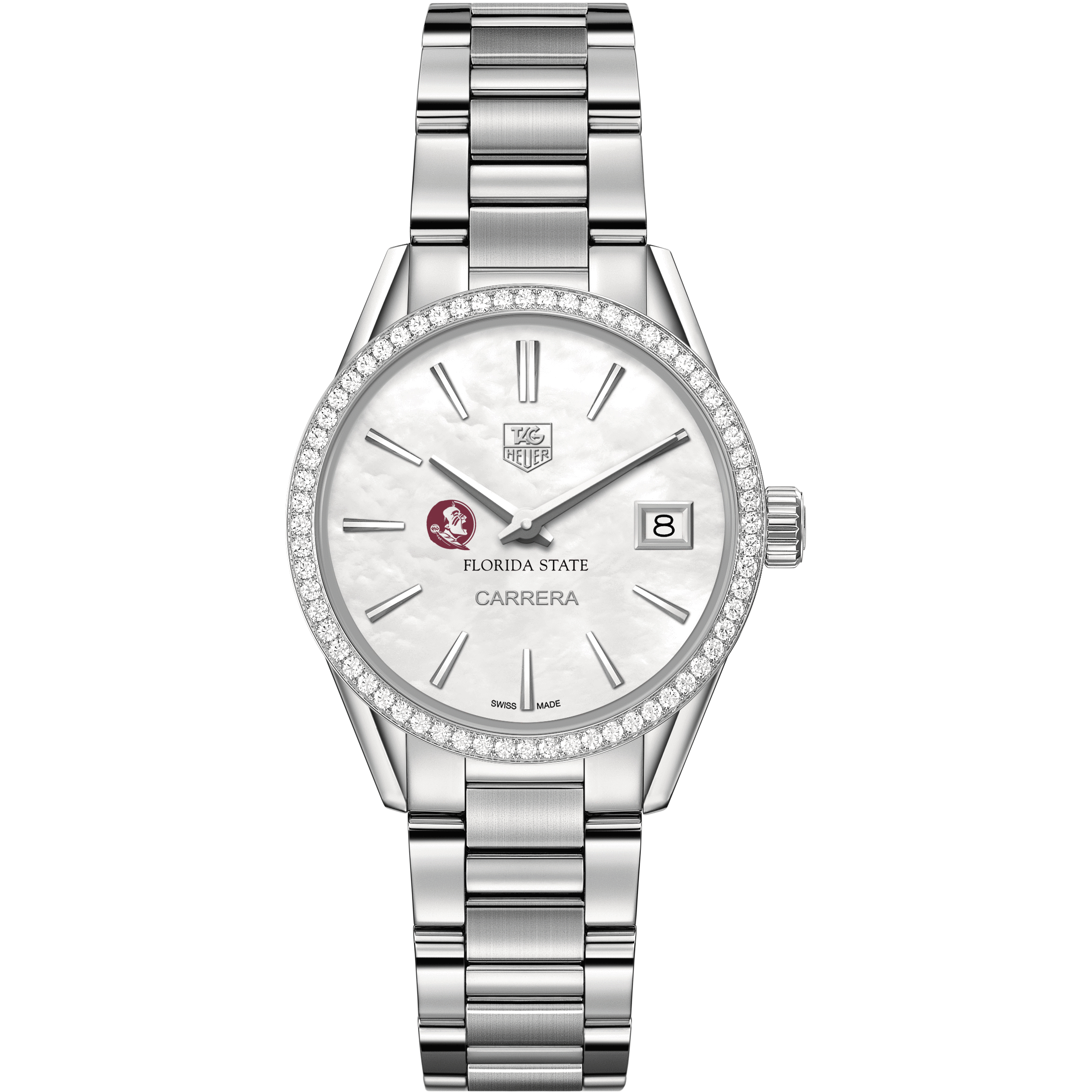 Florida State Women's TAG Heuer Steel Carrera with MOP Dial & Diamond Bezel - Image 2