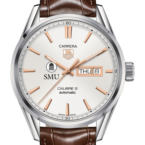 Southern Methodist University Men's TAG Heuer Day/Date Carrera with Silver Dial & Strap