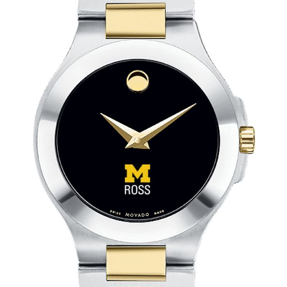 Michigan Ross Women's Movado Collection Two-Tone Watch with Black Dial - Image 1