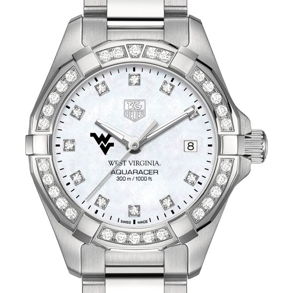 West Virginia University W's TAG Heuer Steel Aquaracer with MOP Dia Dial & Bezel