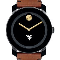 West Virginia University Men's Movado BOLD with Brown Leather Strap