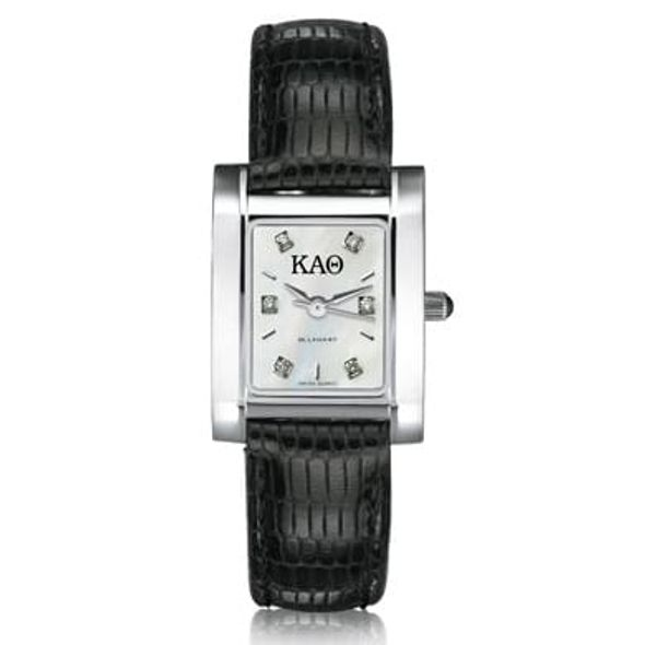 KAT Women's Mother of Pearl Quad Watch with Diamonds & Leather Strap