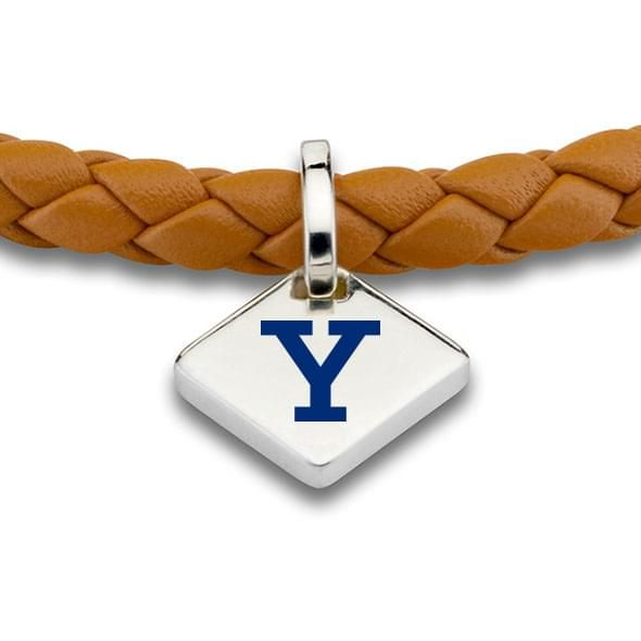 Yale Leather Bracelet with Sterling Silver Tag - Saddle - Image 2