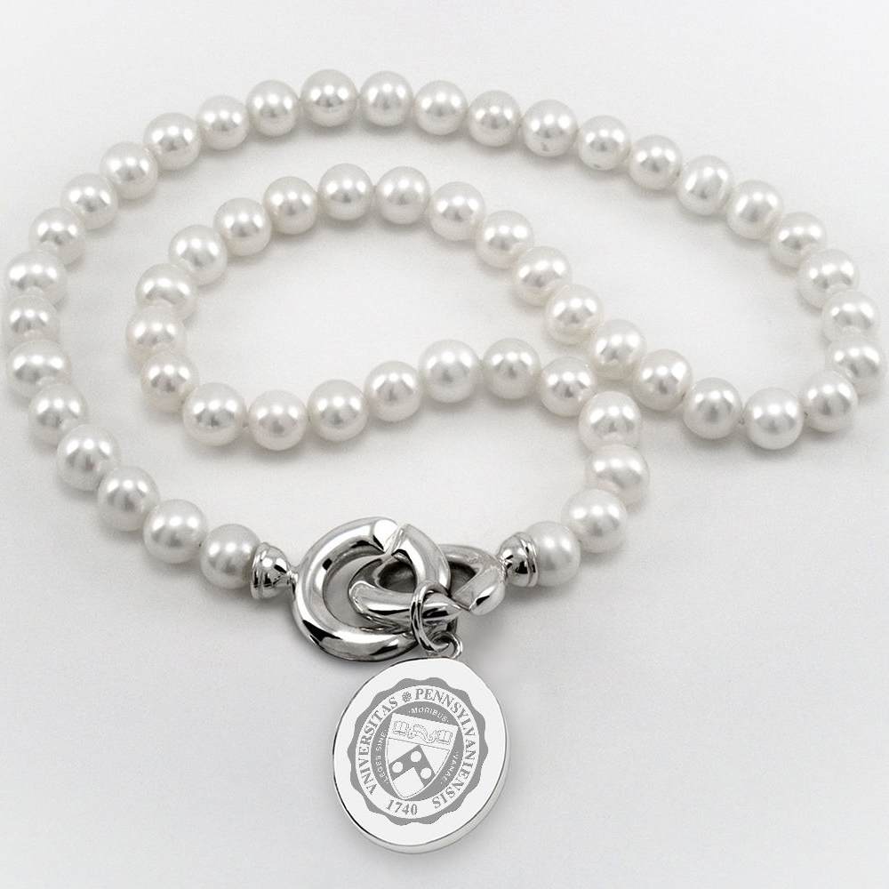 Penn Pearl Necklace with Sterling Silver Charm