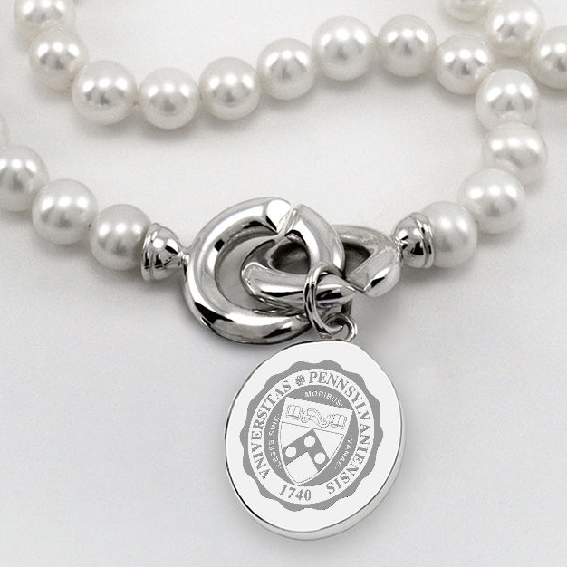 Penn Pearl Necklace with Sterling Silver Charm - Image 2