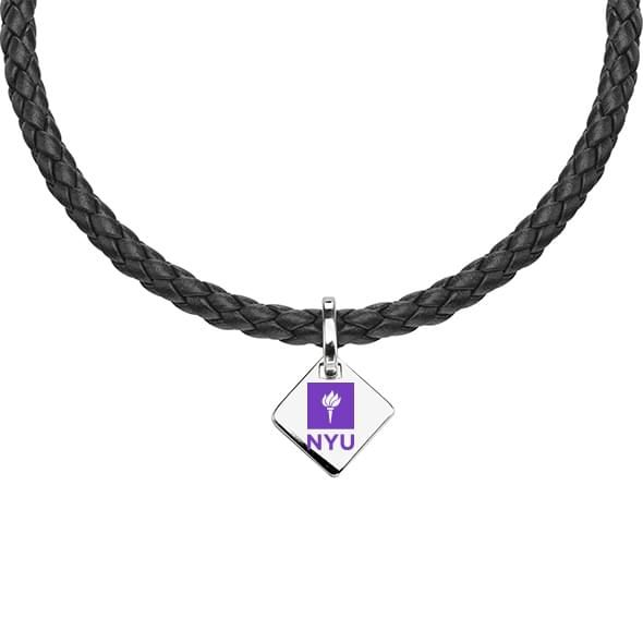 NYU Leather Necklace with Sterling Silver Tag