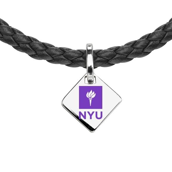 NYU Leather Necklace with Sterling Silver Tag - Image 2
