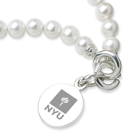 NYU Pearl Bracelet with Sterling Silver Charm - Image 2