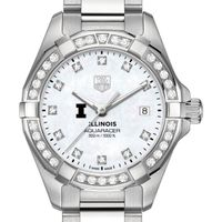 University of Illinois W's TAG Heuer Steel Aquaracer with MOP Dia Dial & Bezel