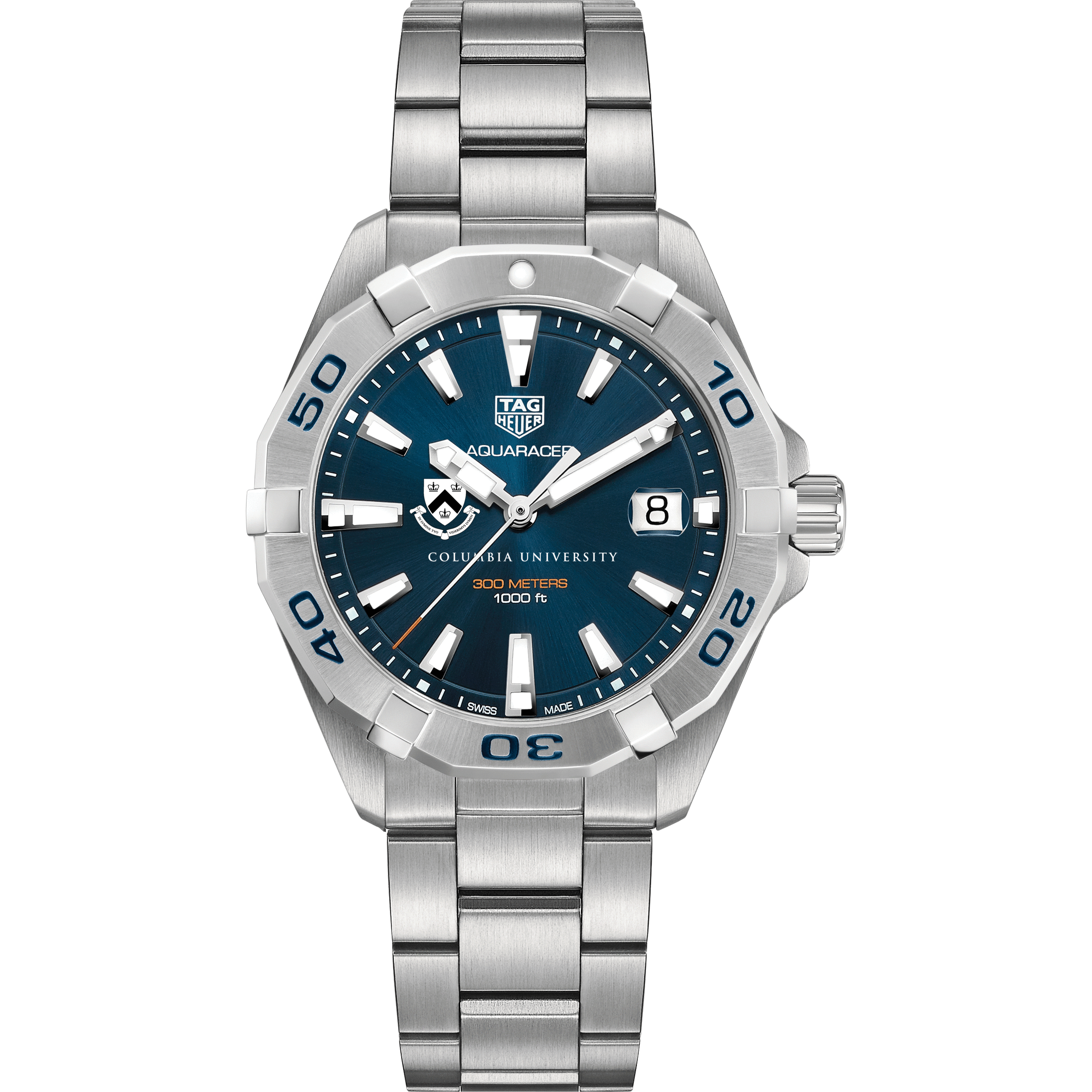 Columbia Men's TAG Heuer Steel Aquaracer with Blue Dial - Image 2