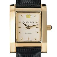 UNC Women's Gold Quad Watch with Leather Strap