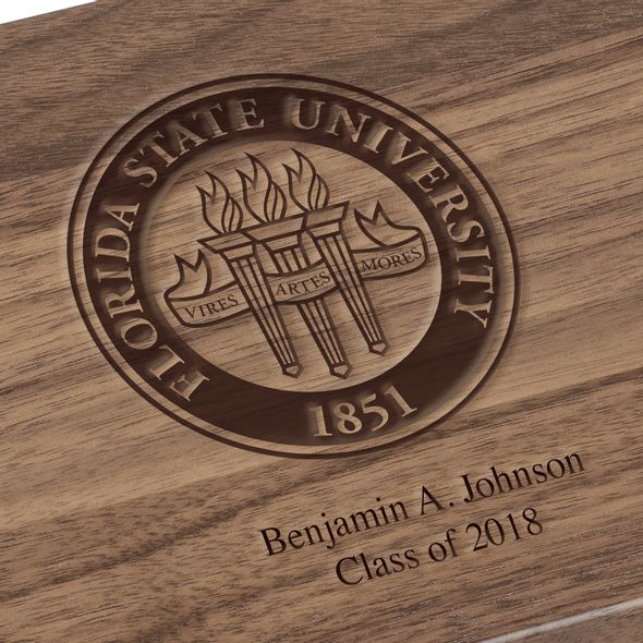 Florida State University Solid Walnut Desk Box - Image 3