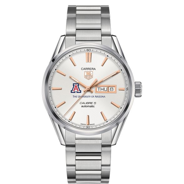 University of Arizona Men's TAG Heuer Day/Date Carrera with Silver Dial & Bracelet - Image 2