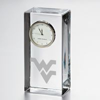 West Virginia University Tall Glass Desk Clock by Simon Pearce