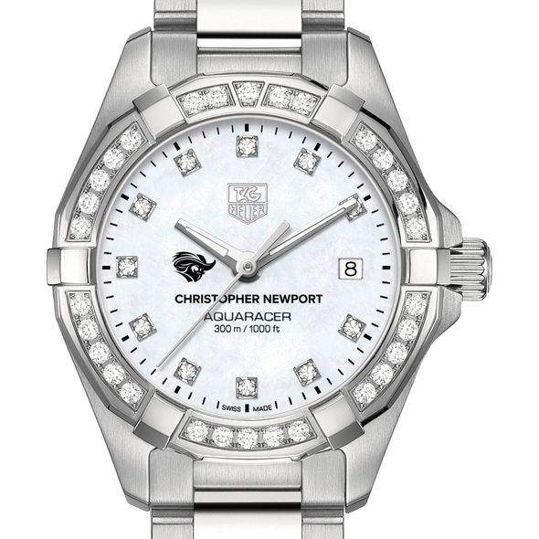 Christopher Newport University W's TAG Heuer Steel Aquaracer with MOP Dia Dial & Bezel