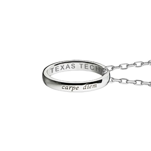 "Texas Tech Monica Rich Kosann ""Carpe Diem"" Poesy Ring Necklace in Silver - Image 3"