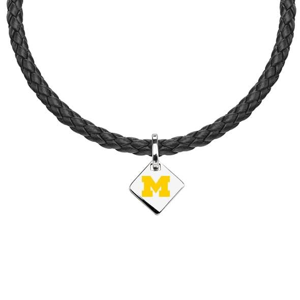 Michigan Leather Necklace with Sterling Silver Tag