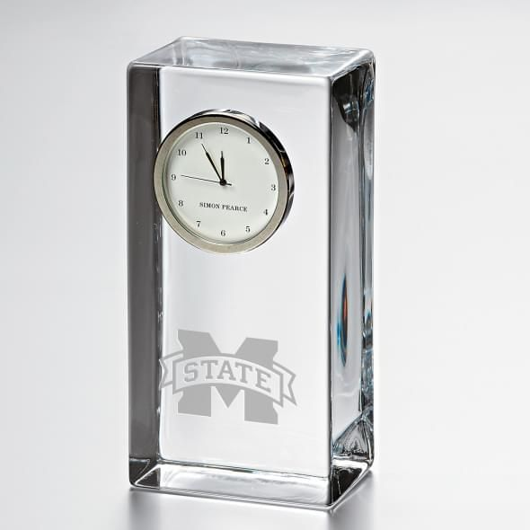 Mississippi State Tall Glass Desk Clock by Simon Pearce