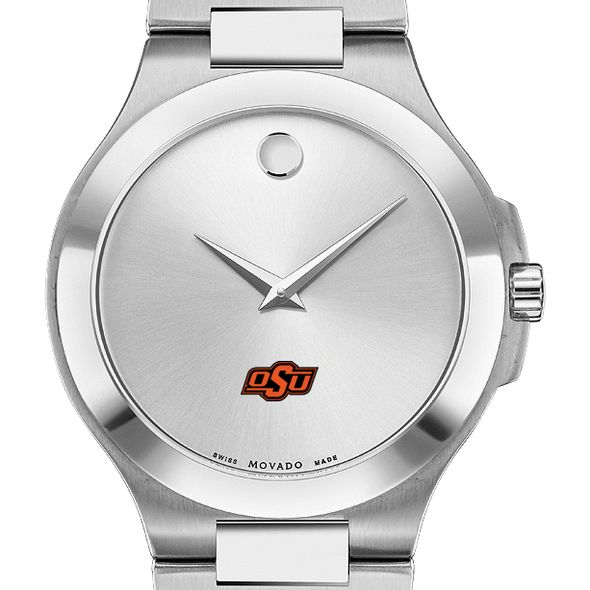 Oklahoma State Men's Movado Collection Stainless Steel Watch with Silver Dial - Image 1