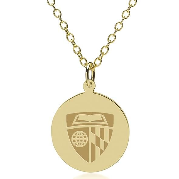 Johns Hopkins 14K Gold Pendant & Chain - Image 1