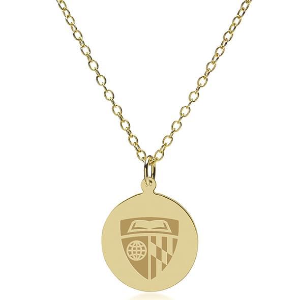 Johns Hopkins 14K Gold Pendant & Chain - Image 2