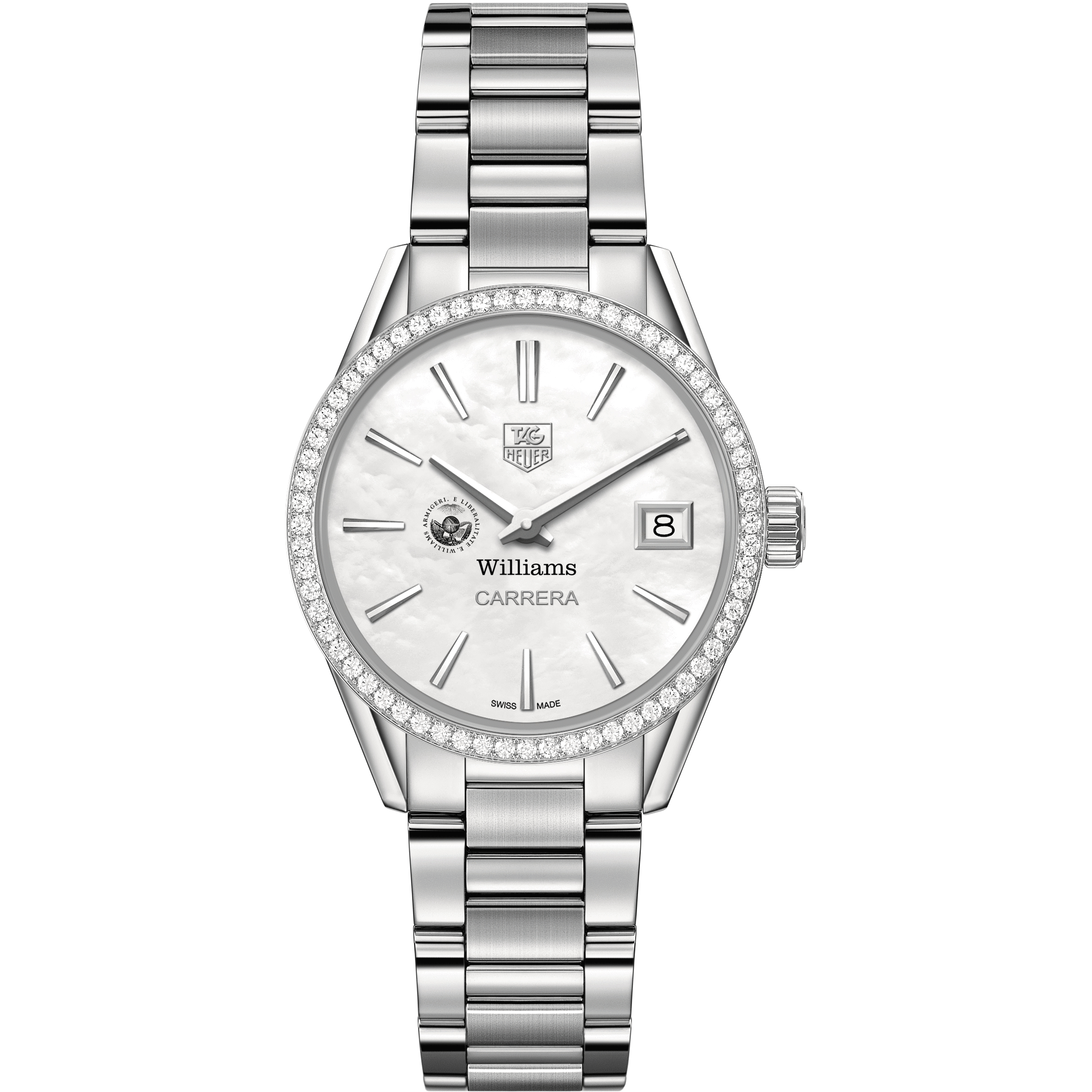 Williams College Women's TAG Heuer Steel Carrera with MOP Dial & Diamond Bezel - Image 2