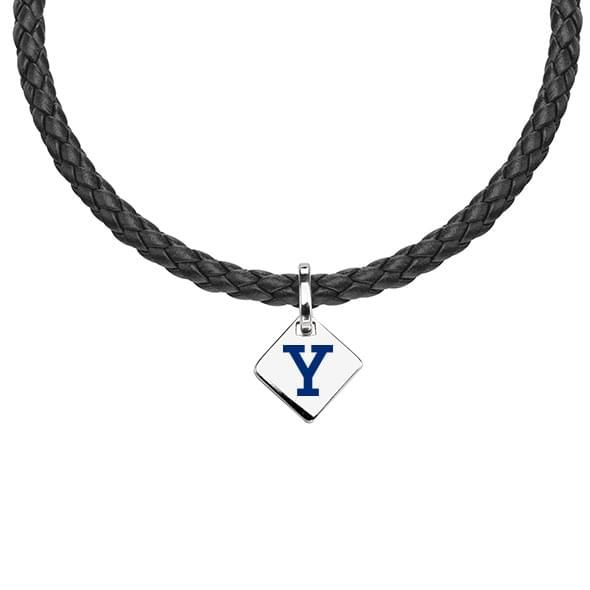 Yale Leather Necklace with Sterling Silver Tag
