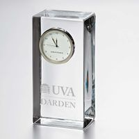 UVA Darden Tall Glass Desk Clock by Simon Pearce