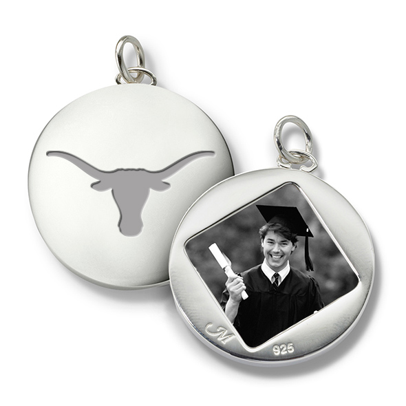 University of Texas Monica Rich Kosann Round Charm in Silver - Image 1