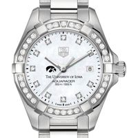 University of Iowa W's TAG Heuer Steel Aquaracer with MOP Dia Dial & Bezel