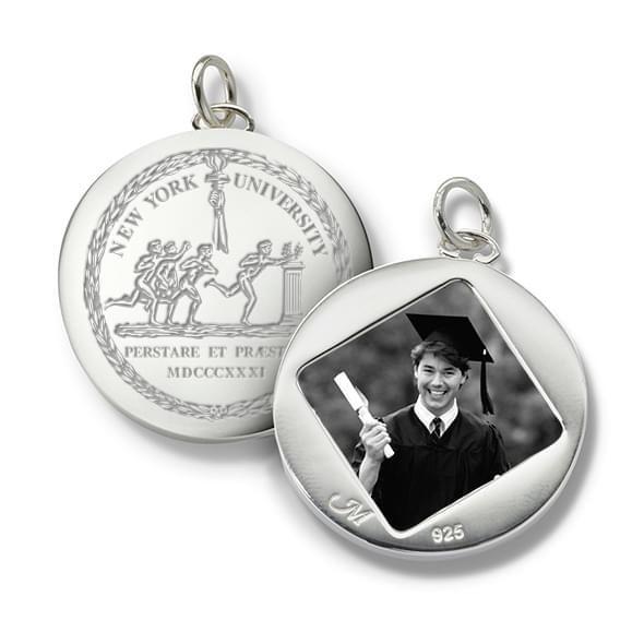 NYU Monica Rich Kosann Round Charm in Silver