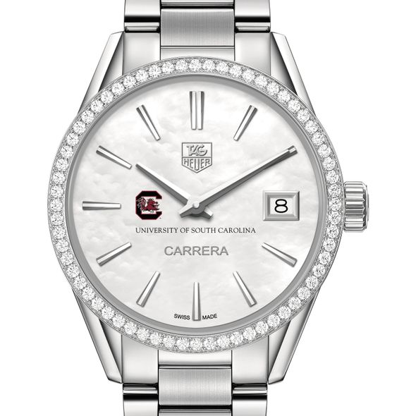University of South Carolina Women's TAG Heuer Steel Carrera with MOP Dial & Diamond Bezel - Image 1