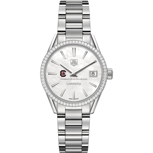 University of South Carolina Women's TAG Heuer Steel Carrera with MOP Dial & Diamond Bezel - Image 2