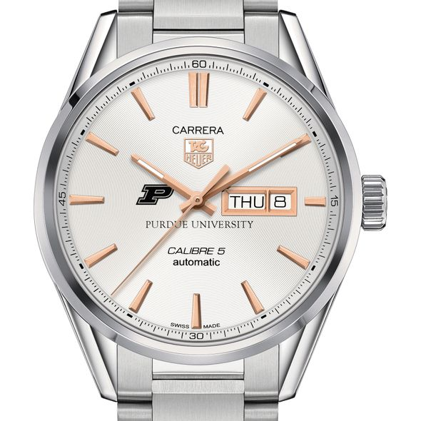 Purdue University Men's TAG Heuer Day/Date Carrera with Silver Dial & Bracelet