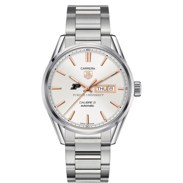 Purdue University Men's TAG Heuer Day/Date Carrera with Silver Dial & Bracelet - Image 2