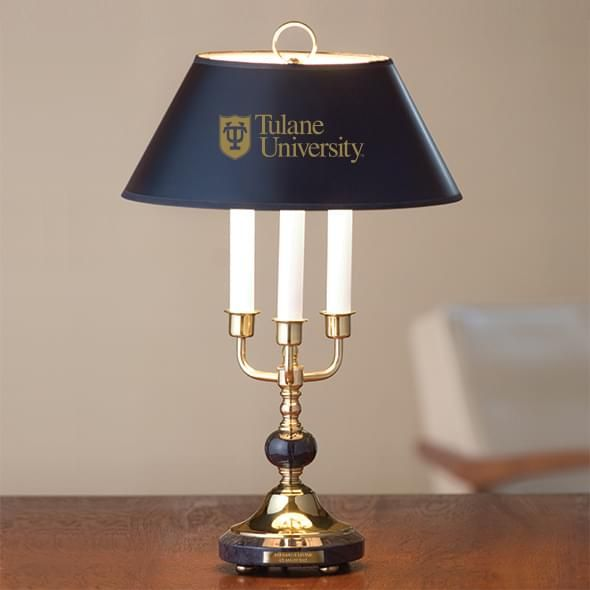 Tulane University Lamp in Brass & Marble