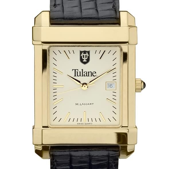 Tulane Men's Gold Quad with Leather Strap - Image 1