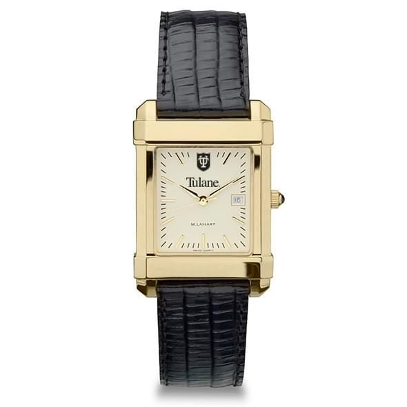 Tulane Men's Gold Quad with Leather Strap - Image 2