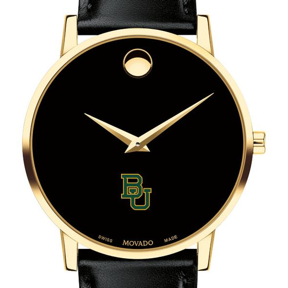 Baylor University Men's Movado Gold Museum Classic Leather