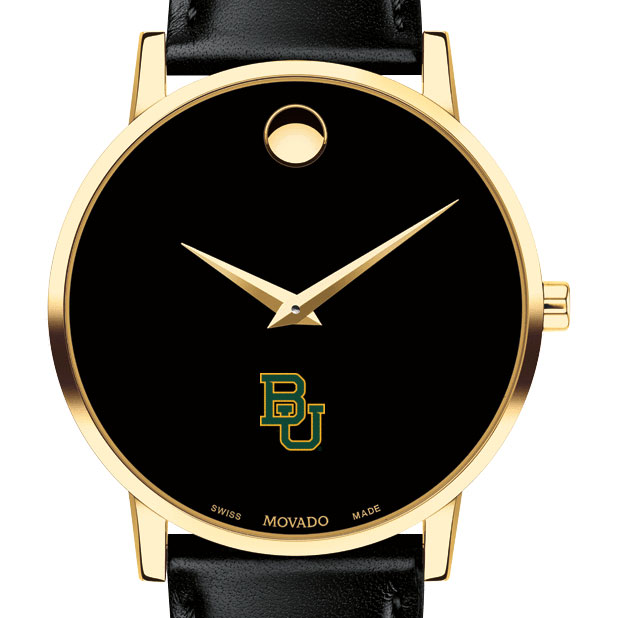Baylor Men's Movado Gold Museum Classic Leather