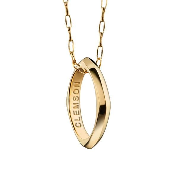 Clemson Monica Rich Kosann Poesy Ring Necklace in Gold - Image 1