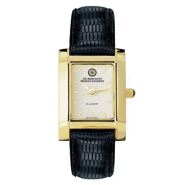 USMMA Women's Gold Quad Watch with Leather Strap - Image 2