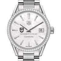 University of Chicago Women's TAG Heuer Steel Carrera with MOP Dial & Diamond Bezel