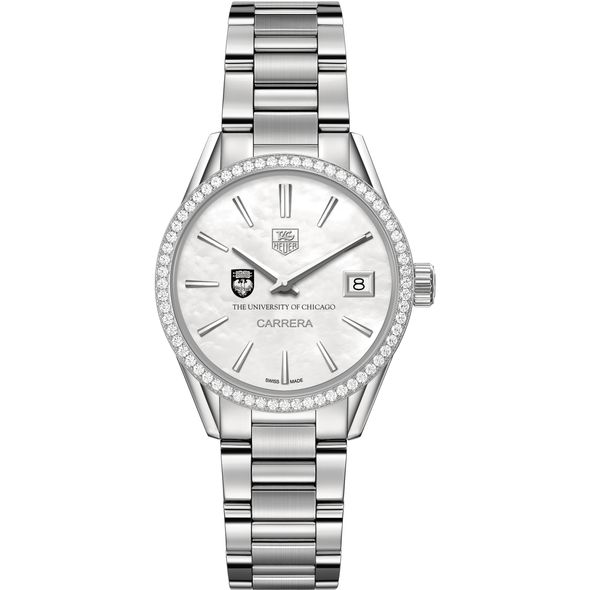 University of Chicago Women's TAG Heuer Steel Carrera with MOP Dial & Diamond Bezel - Image 2