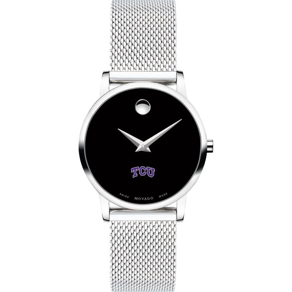 Texas Christian University Women's Movado Museum with Mesh Bracelet - Image 2