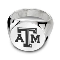 Texas A&M University Sterling Silver Round Signet Ring