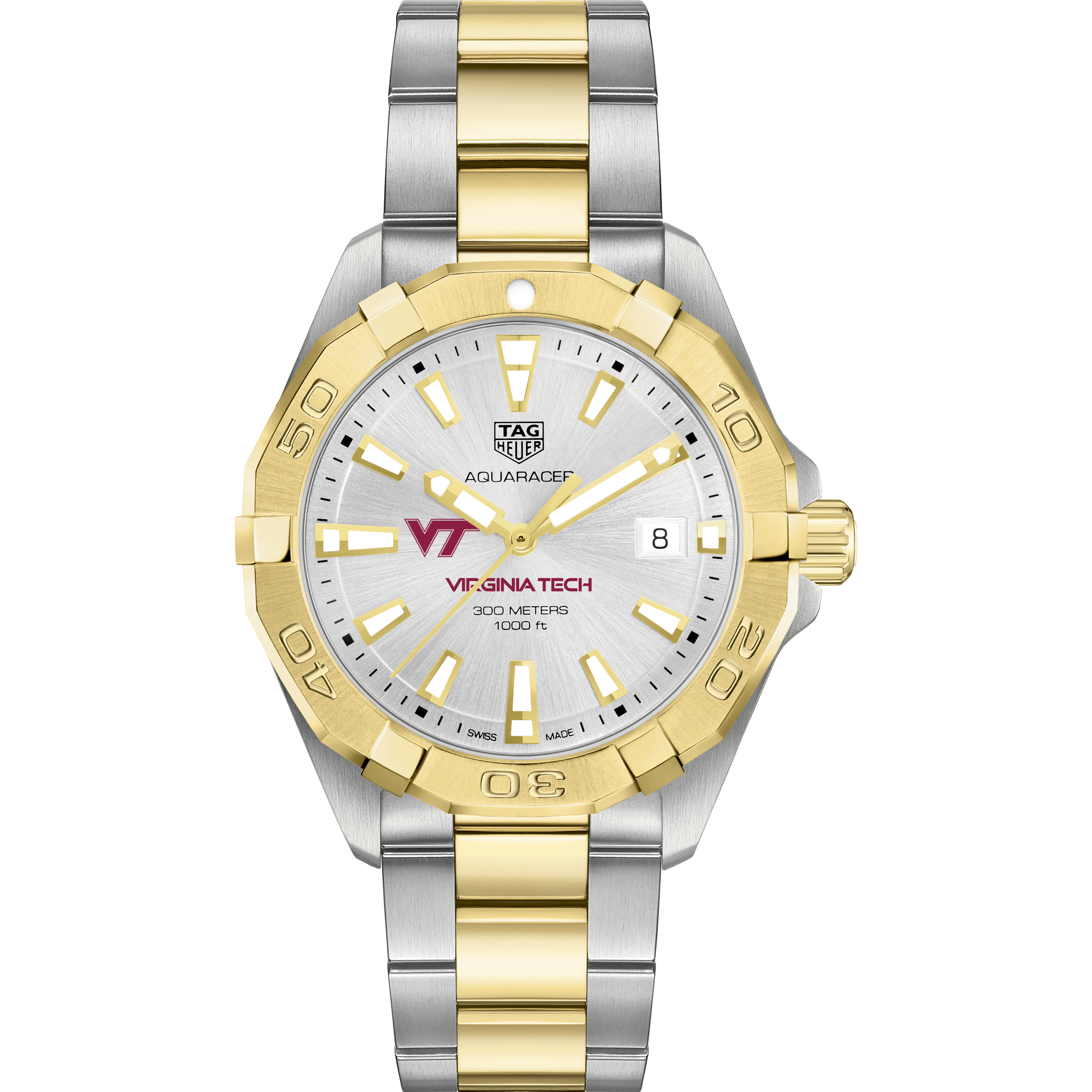 Virginia Tech Men's TAG Heuer Two-Tone Aquaracer - Image 2