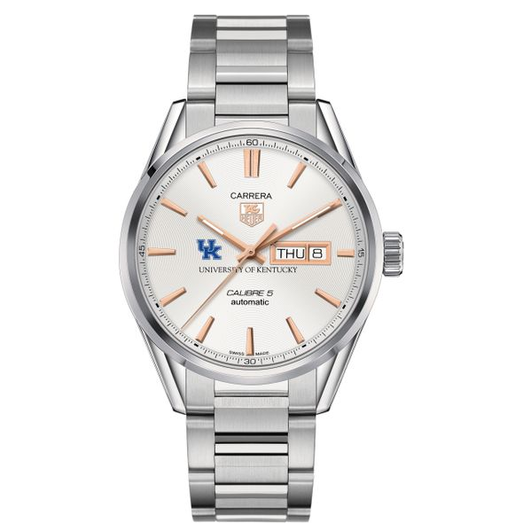 University of Kentucky Men's TAG Heuer Day/Date Carrera with Silver Dial & Bracelet - Image 2