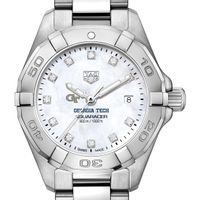 Georgia Tech Women's TAG Heuer Steel Aquaracer with MOP Diamond Dial