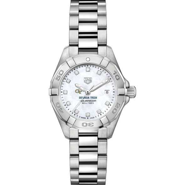 Georgia Tech Women's TAG Heuer Steel Aquaracer with MOP Diamond Dial - Image 2